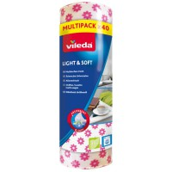 Vileda Light & Soft Semi 40 - Ściereczka Uniwersalna | Rolka 40 szt.