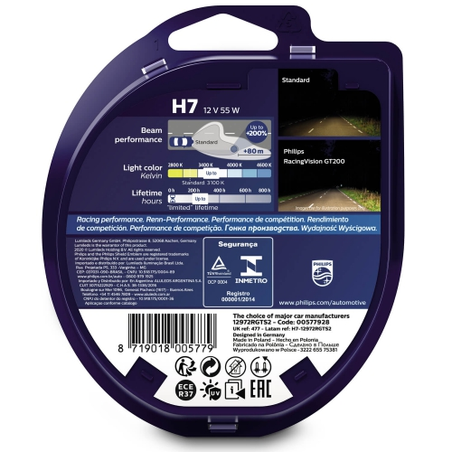 Philips Żarówki H7 RacingVision GT200 +200%