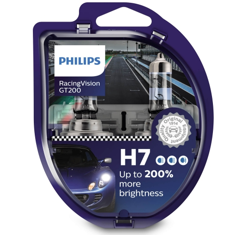 Philips Żarówki H7 RacingVision GT200 +200% | Set